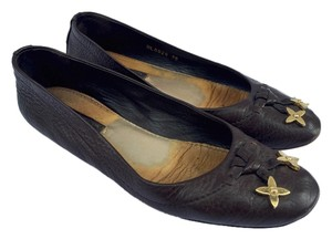 Louis Vuitton Ballerina Ballet Monogram Logo Leather Gold Hardware Brown Flats