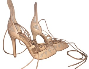 SCHUTZ Heels Lace Up Summer Nude Sandals