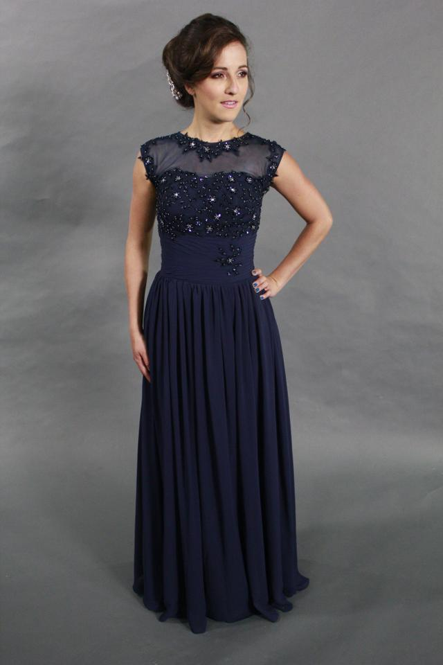 67941ceef8f849 Blue Chiffon Lace Sequin Handmade High Quality Beaded Illusion Cap Sleeve  Long Navy Evening Prom Formal ...