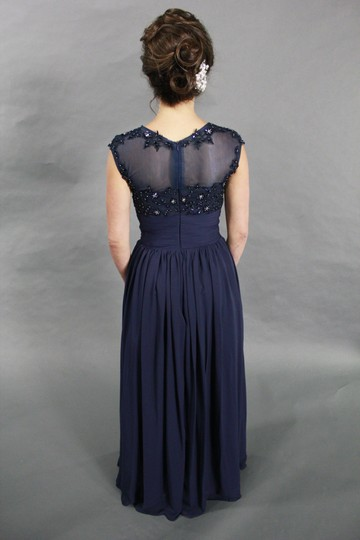 Blue Chiffon Lace Sequin Handmade High Quality Beaded Illusion Cap Sleeve Long Navy Evening Prom Formal Wedding Dress Size 4 (S)