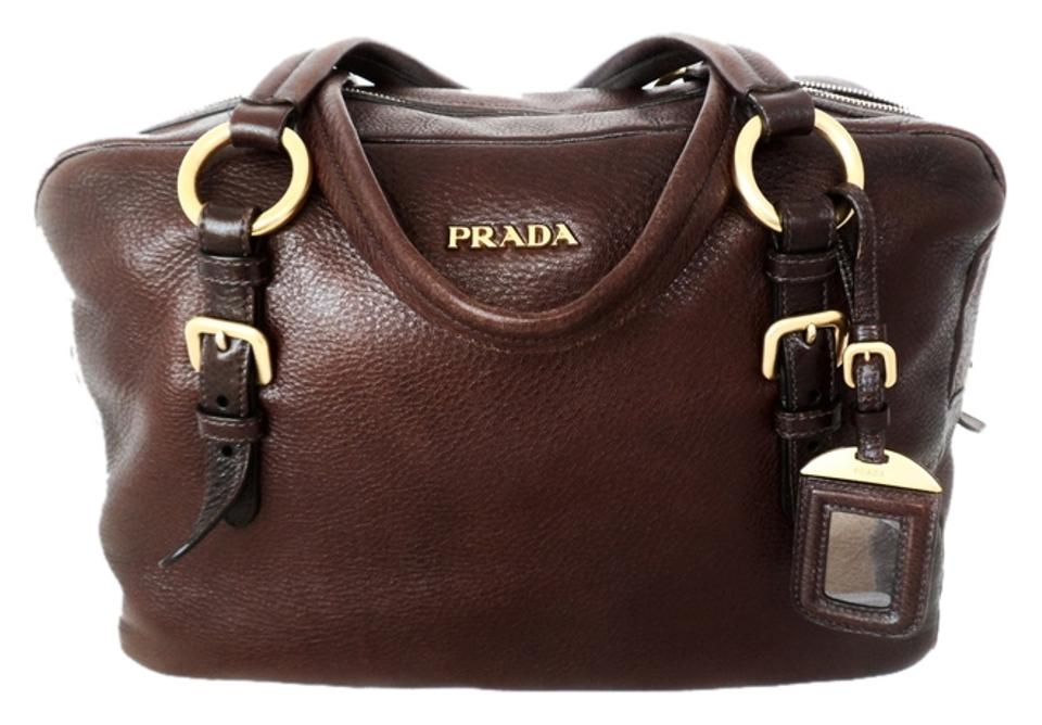 e7ecd14e9b49 Prada Cervo Antik Shoulder Caffe Degraded Brown Deerskin Leather Tote