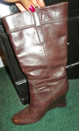 Calvin Klein Wedge Gold Hardware Leather Date Night Party Brown Boots