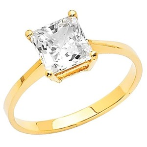 Yellow Gold 14k Solid with 1 Ct Princess Cut Cubic Zirconia Stones Engagement Ring