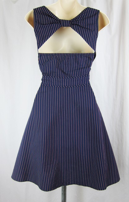 Urban Outfitters short dress navy Pinstripe Open Back Sleeveless Cotton Summer on Tradesy