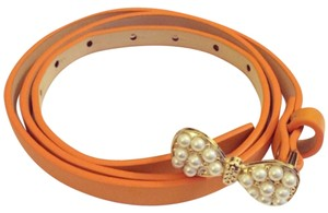 Orange Pearl Bow Skinny Belt