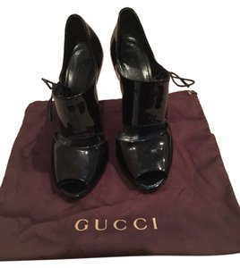 Gucci Peeptoe Pump Heel 6 Black Pumps