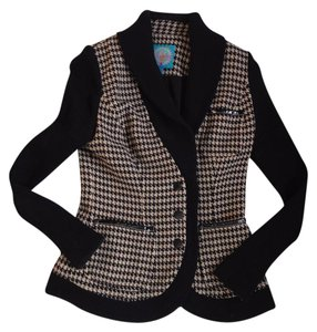 Plenty by Tracy Reese Jacket Houndstooth Beige, Black Blazer