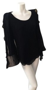 Jones New York Ruffled Silk Size Large Top Black