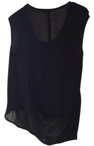 Rachel Roy Sheer High Low Hi Low Hi Lo Night Out Party Shirt Weekends Top Black