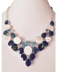 Embellished by Leecia Shiva Shell, Blue Topaz, Green Onyx & Peridot In Sterling Necklace