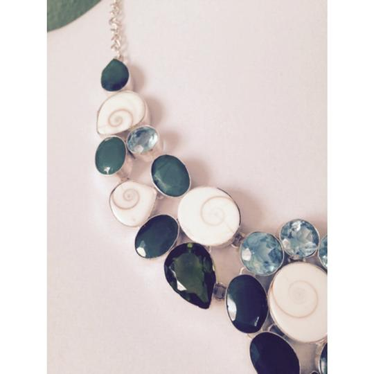 Other Embellished by Leecia Shiva Shell, Blue Topaz, Green Onyx & Peridot In Sterling Necklace