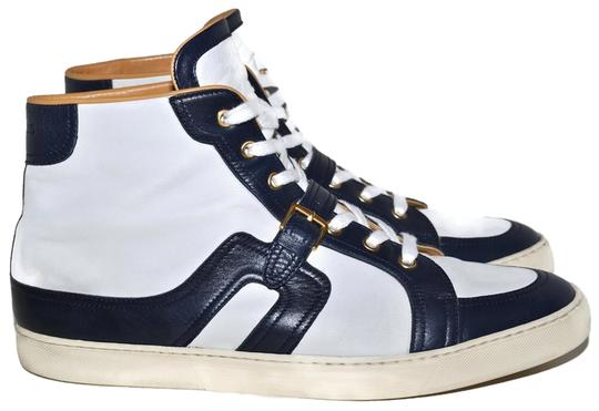 Hermès Mens High Top Mens 11.5 Usa 11.5 Size 45.5 White & Navy Blue Athletic