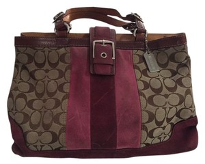 Coach Satchel in Brown with pink and purple suede