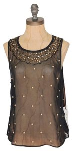 Anthropologie Embellished Top BLACK