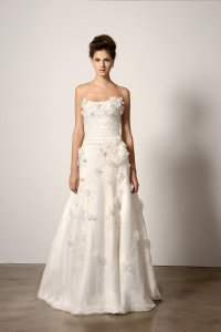 Ivory Organza And Lace with Flower Appliqué Modern Wedding Dress Size 6 (S)