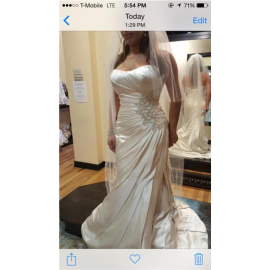 Justin Alexander Pearl Silk Gown Formal Wedding Dress Size 10 (M)