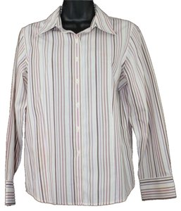 Talbots Wrinkle Resistant Stripe Cotton Button Down Shirt