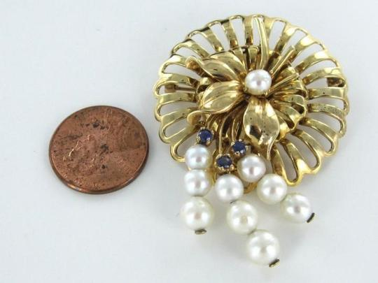 Other 14K KARAT SOLID YELLOW GOLD PIN BROOCH VINTAGE CHRISTMAS PEARL SAPPHIRE ANTIQUE