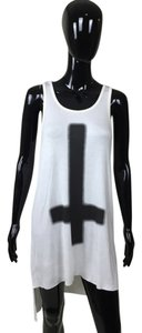 Black Cross Tunic Top black, white