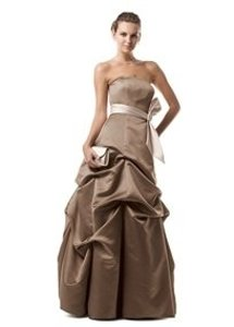 David's Bridal Champagne Satin 81123 Formal Bridesmaid/Mob Dress Size 4 (S)