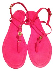 Coach T-strap Pink Patent Leather Flat Gently Worn Pink, coral Sandals
