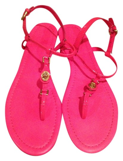 Coach T-strap Patent Leather Flat Gently Worn Pink, coral Sandals