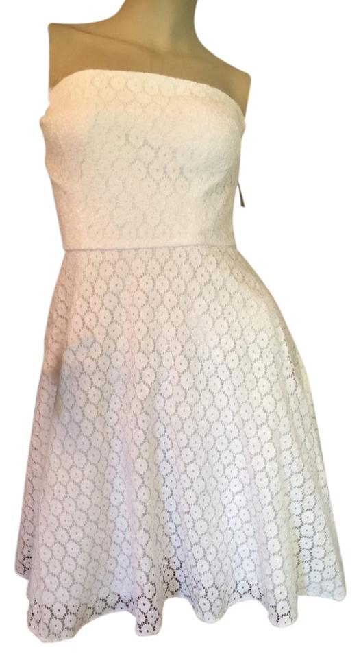 Betsey Johnson White Womens Floral Lace Mid Length Cocktail Dress Size 12 L 72 Off Retail