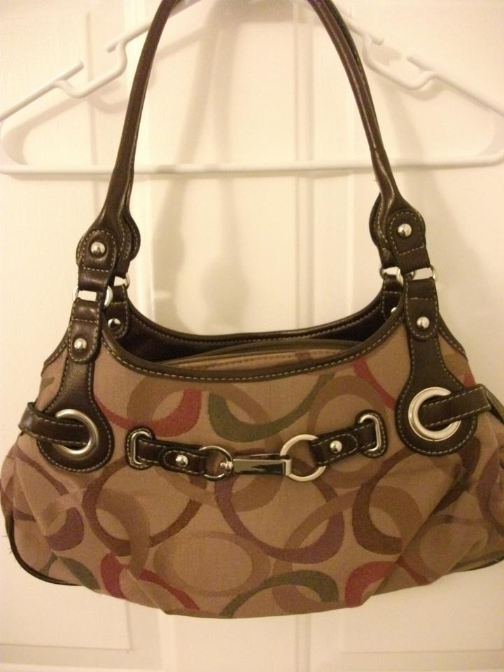 Rosetti New York Brown Tan Red Polyester Cotton Shoulder Bag