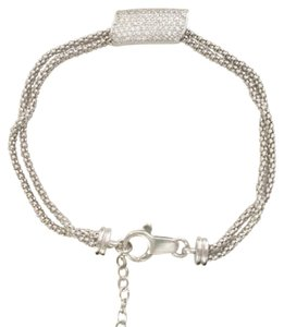 Savvy Cie Italian, Sterling Silver Double Mesh Bracelet, Pave Crystals Diamonds