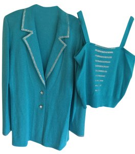 Karyn Couture Los Angeles Blue Jacket with Silver Studded Lapels and Matching Camisole