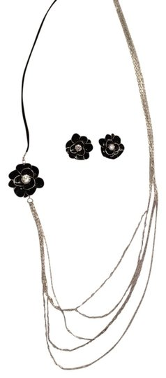 Enamel Jewelry Set CZ & Enamel Flower Necklace & Earrings Set