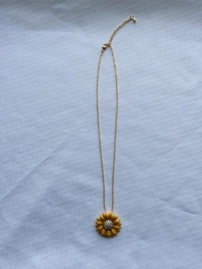 Enamel Sunflower Necklace Enamel Sunflower Necklace with CZ