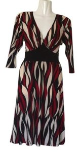 En Focus Studio Empire Waist Red Cream Brown Stretch Dress
