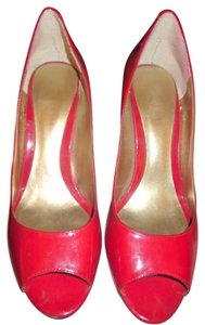 Nine West Peep Toe Patent Red Pumps