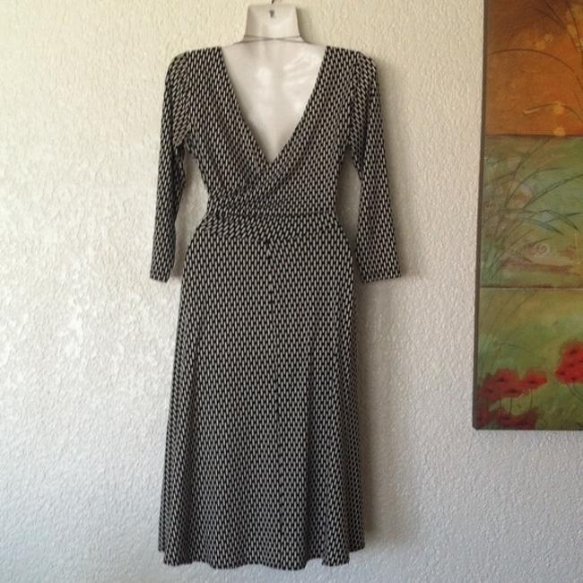 London Times Ruched Black And White Dress