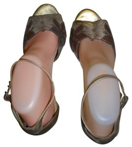 Carlos by Carlos Santana Floral Across The Vamp Gold, Brown, Beige Sandals