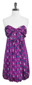 Shoshanna short dress Print Silk Strapless on Tradesy
