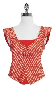 Marc Jacobs Striped Silk Cap Sleeve Top