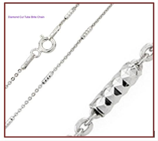 Other 18K White Gold Rhodium Over Sterling Silver Diamond Cut Chain