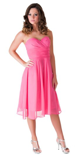 Pink Chiffon Strapless Pleated Waist Slimming Feminine Bridesmaid/Mob Dress Size 4 (S)