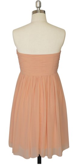Peach Chiffon Strapless Sweetheart Pleated Bust Size:xs Modern Bridesmaid/Mob Dress Size 2 (XS)