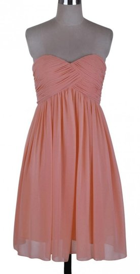 Peach Chiffon Strapless Sweetheart Pleated Bust Size:med Feminine Dress Size 8 (M)