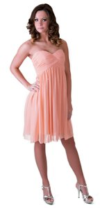 Peach Strapless Sweetheart Pleated Bust Chiffon Size:med Dress