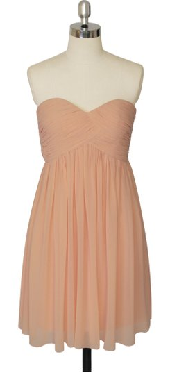 Peach Chiffon Strapless Sweetheart Pleated Bust Size:med Feminine Bridesmaid/Mob Dress Size 10 (M)
