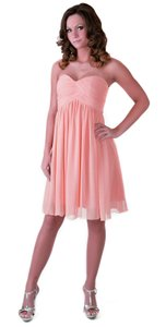 Peach Strapless Sweetheart Pleated Bust Chiffon Size:xl Dress