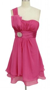 Pink One Shoulder Pleated W/ Rhinestones Dress