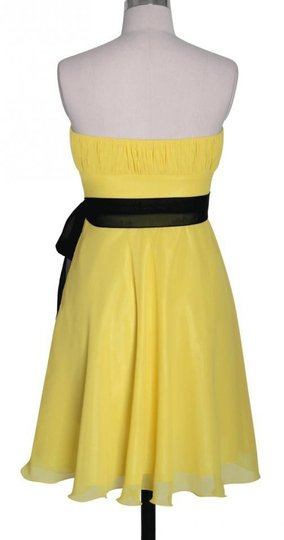 Yellow Chiffon Pleated Bust W/ Sash Destination Bridesmaid/Mob Dress Size 0 (XS)