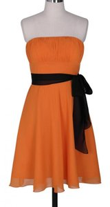 Orange Chiffon Strapless Pleated Bust Modern Bridesmaid/Mob Dress Size 2 (XS)