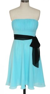 Blue Chiffon Pleated Bust W/ Removable Sash Size:small Formal Bridesmaid/Mob Dress Size 4 (S)