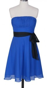 Blue Chiffon Pleated Bust W/ Sash Size:small Formal Bridesmaid/Mob Dress Size 6 (S)